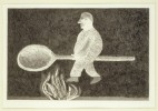 'RIDING AROUND ON A COOKING SPOON' FROM ILLUSTRATIONS FOR SIX FAIRY TALES FROM THE BROTHERS GRIMM 1969