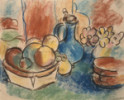 STILL LIFE - BLUE JUG AND APPLES