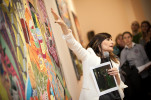 Playwright Biljana Srbljanovic leads a tour around Grayson Perry's exhibition in Serbia