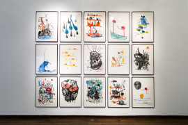 David Shrigley: Lose Your Mind. monoprints, 2007 at Instituto Cultural Cabañas, Guadalajara, Mexico November 2015.