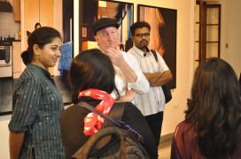 Latika Gupta leads a tour of the exhibition.