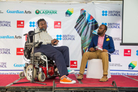 Yinka Shonibare MBE in conversation at the student lecture in Ndubuisi Kanu Park in Ikeja, Lagos, November 2016. Photo © Red Media