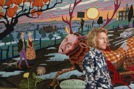 Grayson Perry, The artist in front of one of his tapestries titled