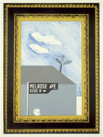 PICTURE OF MELROSE AVENUE IN AN ORNATE GOLD FRAME