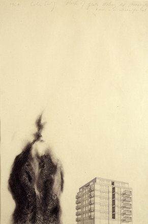 BLOCK OF FLATS, WOLSEY ROAD, HORNSEY N.8 AND WOMAN IN AN ASTRAKHAN FUR COAT