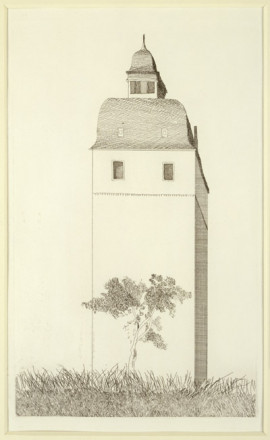'THE BELLTOWER FROM ILLUSTRATIONS FOR SIX FAIRY TALES FROM THE BROTHERS GRIMM 1969