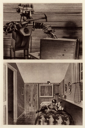 (TOP) GARCO ROBOT AMERICAIN EN ACTIVITE  NAILING A WOODEN BOX (IF FAUT TUER LES ROBOTS) 1957  (BOTTOM)  LITTLE BOY  ON HIS BED  IN HIS ROOM (POPULAR MECHANICS EARLY 1960S)