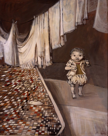 CHILD WALKING WITH CHECK TABLECLOTH