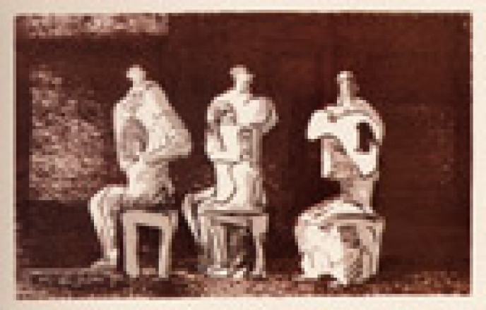 THREE SEATED FIGURES IN SETTING