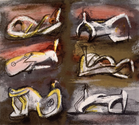 SIX RECLINING FIGURES WITH RED BACKGROUND