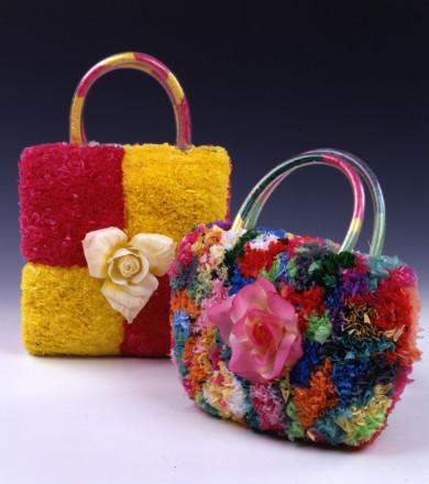 FLORAL CHECK SHOPPER BAG AND FLOWER ARRANGEMENT HANDY BAG