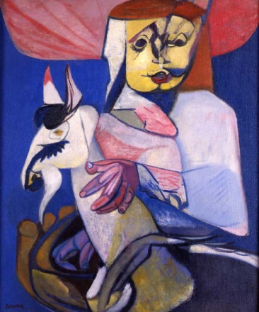 GIRL WITH A CIRCUS GOAT