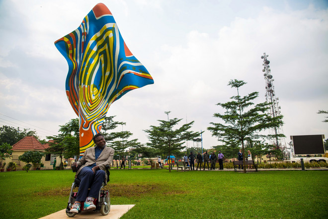 Wind Sculpture VI, Yinka Shonibare, installed in Ndubuisi Kanu Park in Ikeja, Lagos. Photo © Red Media