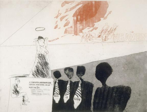 'THE GOSPEL SINGING (GOOD PEOPLE) MADISON SQUARE GARDEN' FROM A RAKE'S PROGRESS (PORTFOLIO OF SIXTEEN PRINTS) 1961-63