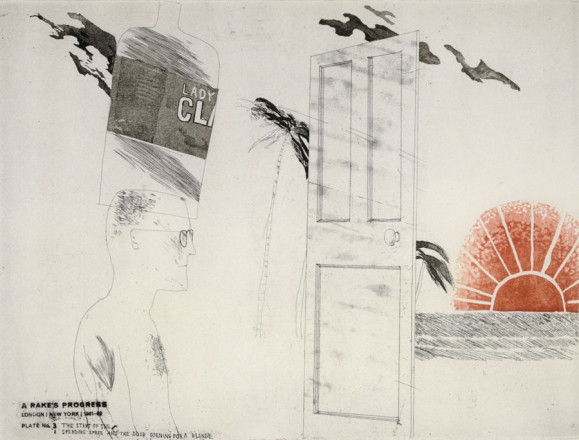 'THE START OF THE SPENDING SPREE AND THE DOOR OPENING FOR A BLONDE' FROM A RAKE'S PROGRESS (PORTFOLIO OF SIXTEEN PRINTS) 1961-63
