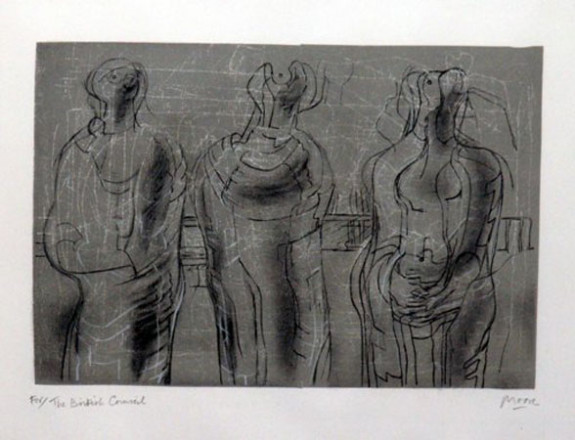 THREE CLOAKED FIGURES I