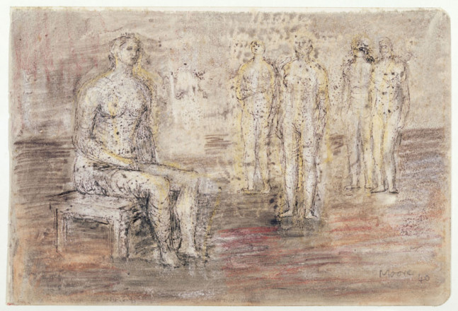 STUDY OF ONE SEATED AND FOUR STANDING FIGURES