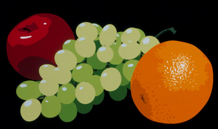 STILL LIFE WITH ORANGE, GRAPES AND RED APPLE
