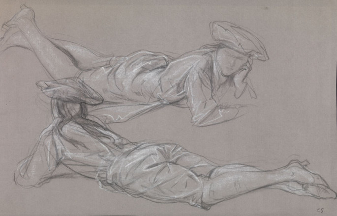 STUDIES OF FIGURES IN MARMITON COSTUME