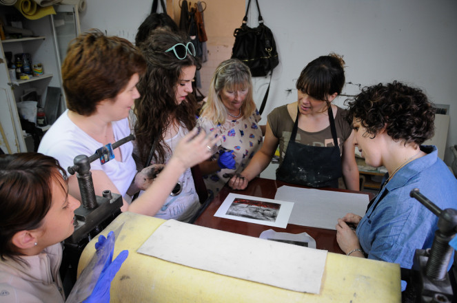 Sarah Gillett's printmaking workshop in Montenegro, 2013.