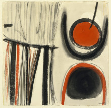 COMPOSITION, RED AND GREY