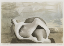 RECLINING FIGURE AGAINST SEA AND ROCKS