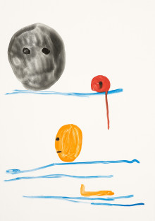 Untitled (black red and orange faces with blue lines)