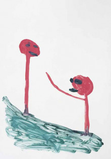 Untitled (pinks stick figures with tongue out)