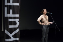 Artist Laura Buckley speaking at KuFF in September 2015