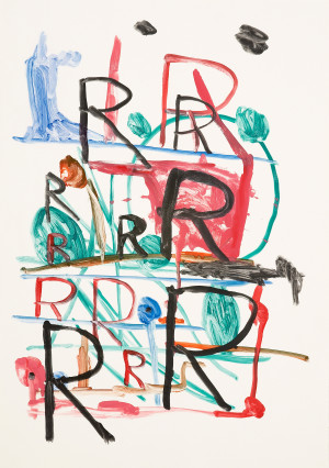 David Shrigley, Untitled R black and red with colour structure