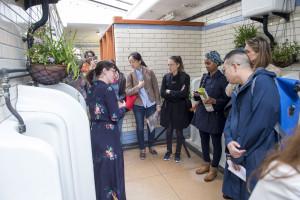 The delegation exploring the Tool Appreciation Society exhibition.