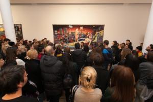 Playwright Biljana Srbljanovic leads a tour around Grayson Perry's exhibition in Serbia