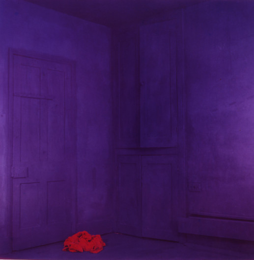 BLUE ROOM RED COAT ON FLOOR