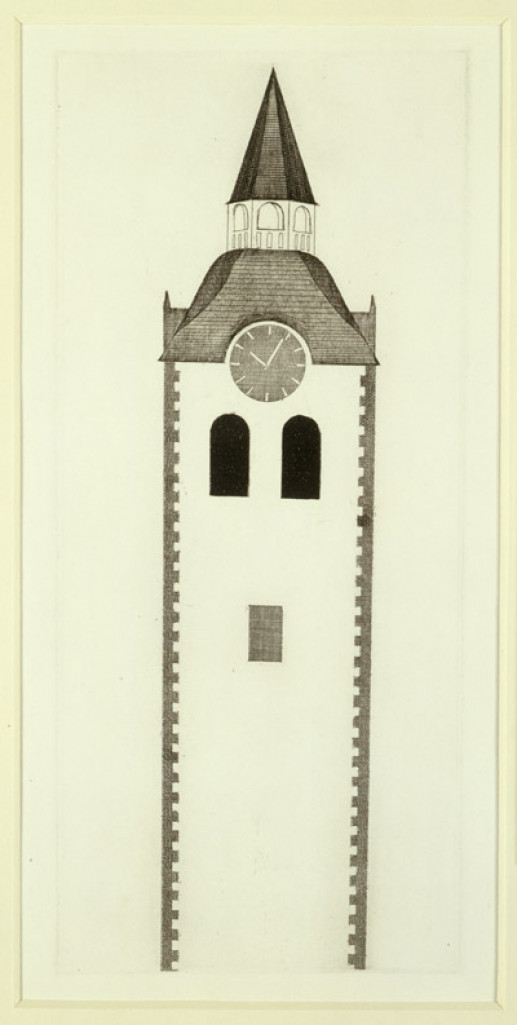 'THE CHURCH TOWER AND THE CLOCK' FROM ILLUSTRATIONS FOR SIX FAIRY TALES FROM THE BROTHERS GRIMM 1969