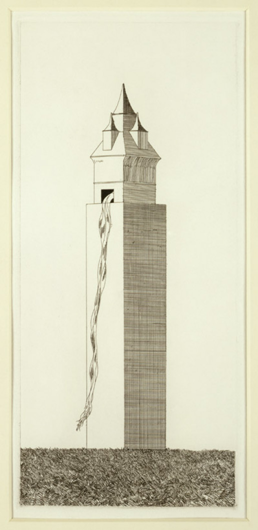'THE TOWER HAD ONE WINDOW' FROM ILLUSTRATIONS FOR SIX FAIRY TALES FROM THE BROTHERS GRIMM 1969