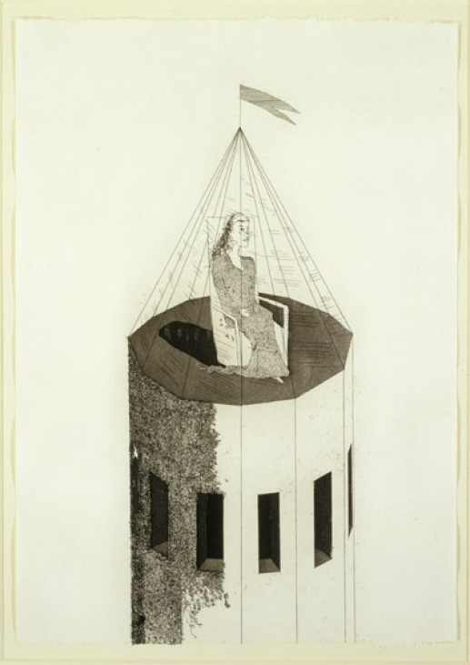 'THE PRINCESS IN HER TOWER' FROM ILLUSTRATIONS FOR SIX FAIRY TALES FROM THE BROTHERS GRIMM 1969