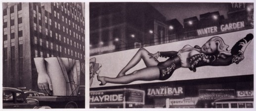 (LEFT) PUBLIC TORSO ON LORRY IN MANHATTAN STREET FOR 'BONDS CLOTHES FOR MEN' (RIGHT) VARGA-BILLBOARD-GIRL (WINTER GARDEN - ZANZIBAR)