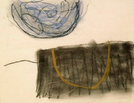 DRAWING (BLUE, BLACK AND OCHRE)