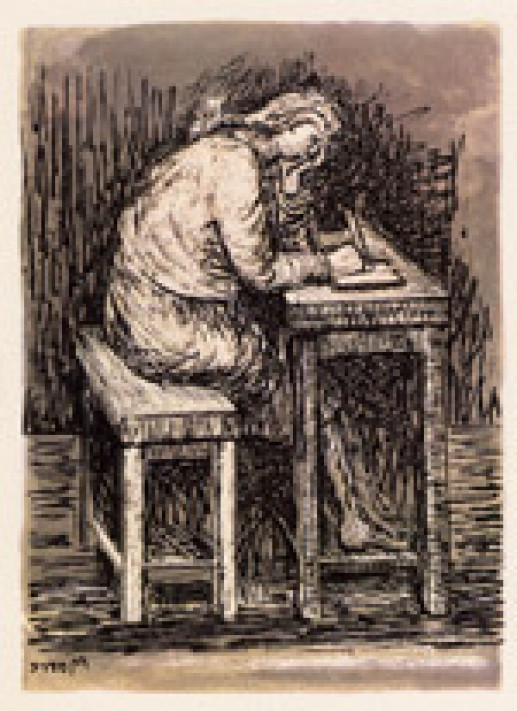 GIRL SEATED AT DESK VII
