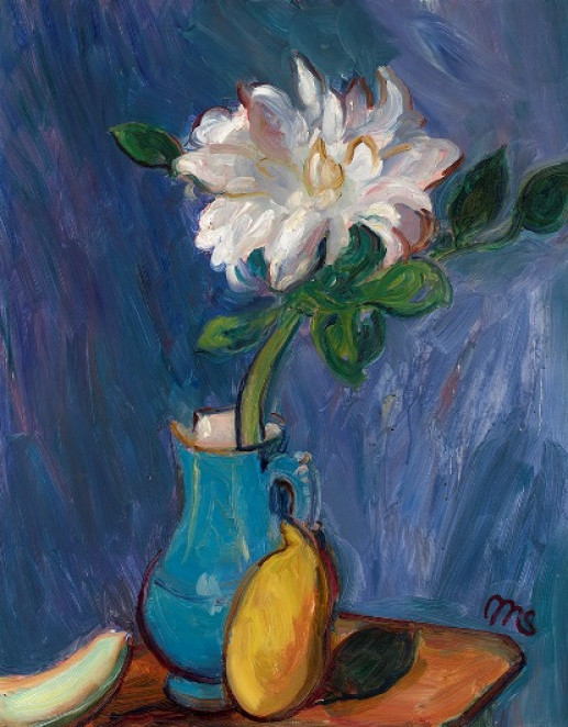 WHITE DAHLIA IN A BLUE JUG
