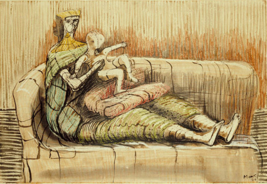 MOTHER AND CHILD ON A SOFA