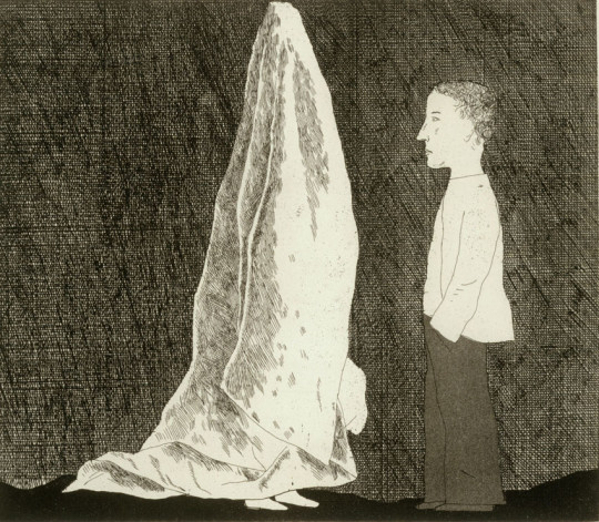 'THE SEXTON DISGUISED AS A GHOST' FROM ILLUSTRATIONS FOR SIX FAIRY TALES FROM THE BROTHERS GRIMM 1969