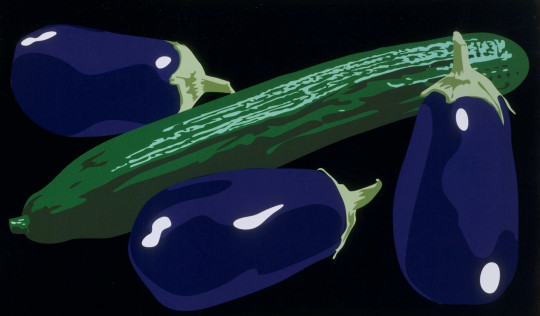 STILL LIFE WITH AUBERGINES AND CUCUMBER