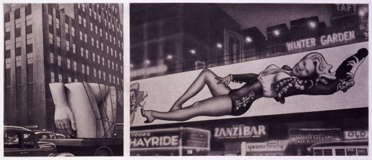 (LEFT) PUBLIC TORSO ON LORRY IN MANHATTAN STREET FOR 'BONDS CLOTHES FOR MEN' (RIGHT) VARGA-BILLBOARD-GIRL (WINTER GARDEN - ZANZIBAR)