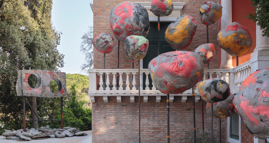 Installation view, folly, Phyllida Barlow, British Pavilion, Venice, 2017